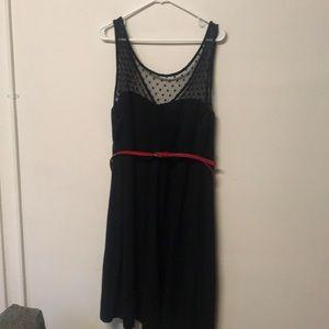 Dense dress with polka dot sheer neck